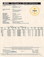 Certificate of Weight Calibration - 2624830