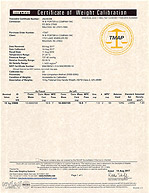 Certificate of Weight Calibration - 2624830B