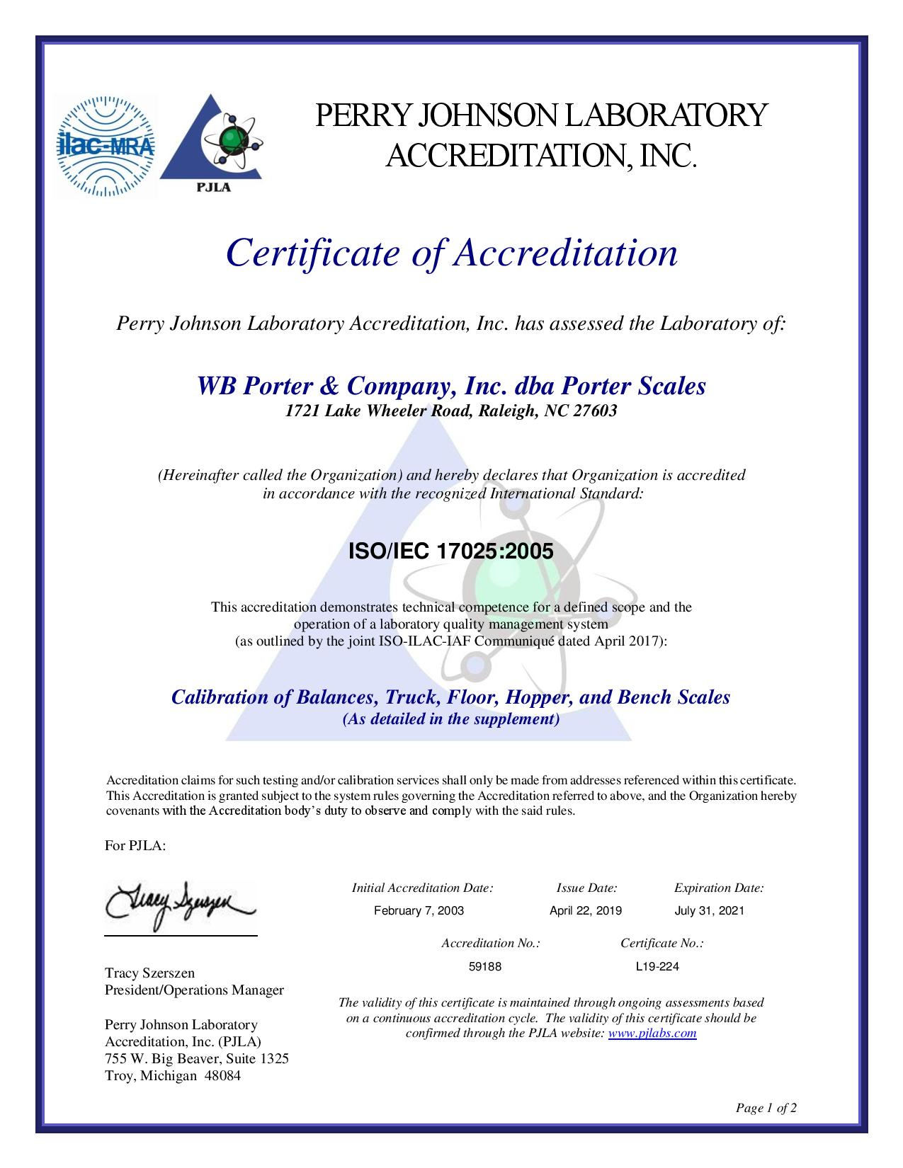 PJL Certificate of Accreditation 2019 - 2021